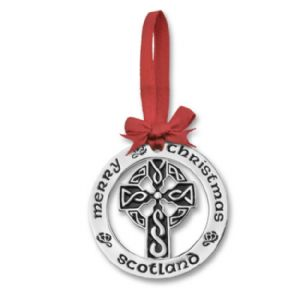 Silver Plated Christmas Decoration Celtic Cross 0944